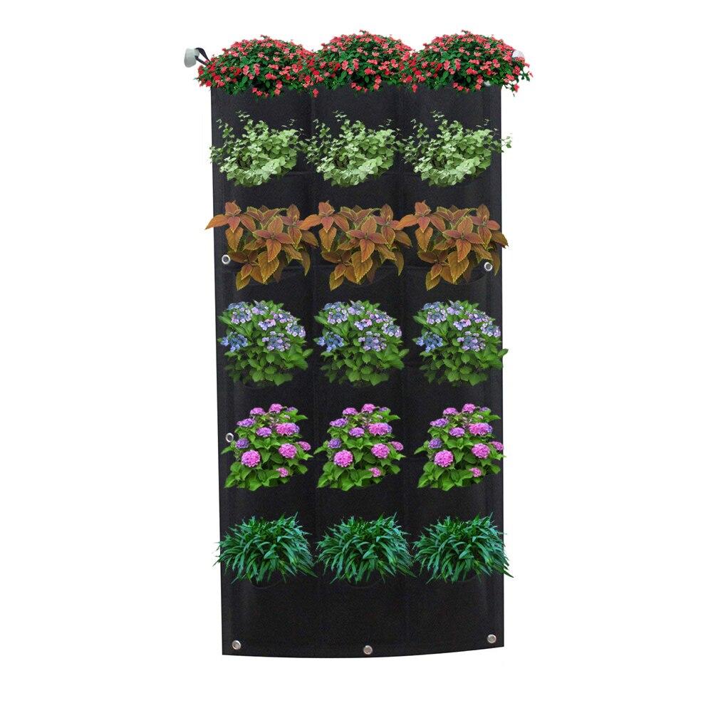 12/18 Cepler Bitki Yetiştirme Çantası Dikey Yatay Yeşil Asılı Duvar Bahçe  Fide Bitki Büyümek Çanta Ekici Siyah concernant Bache Protection Salon De Jardin
