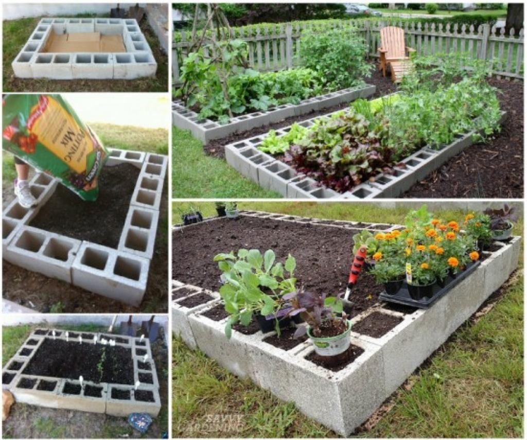 12 Avantages À Faire Son Jardin Avec Des Blocs De Béton ... destiné Faire Un Petit Potager Dans Son Jardin