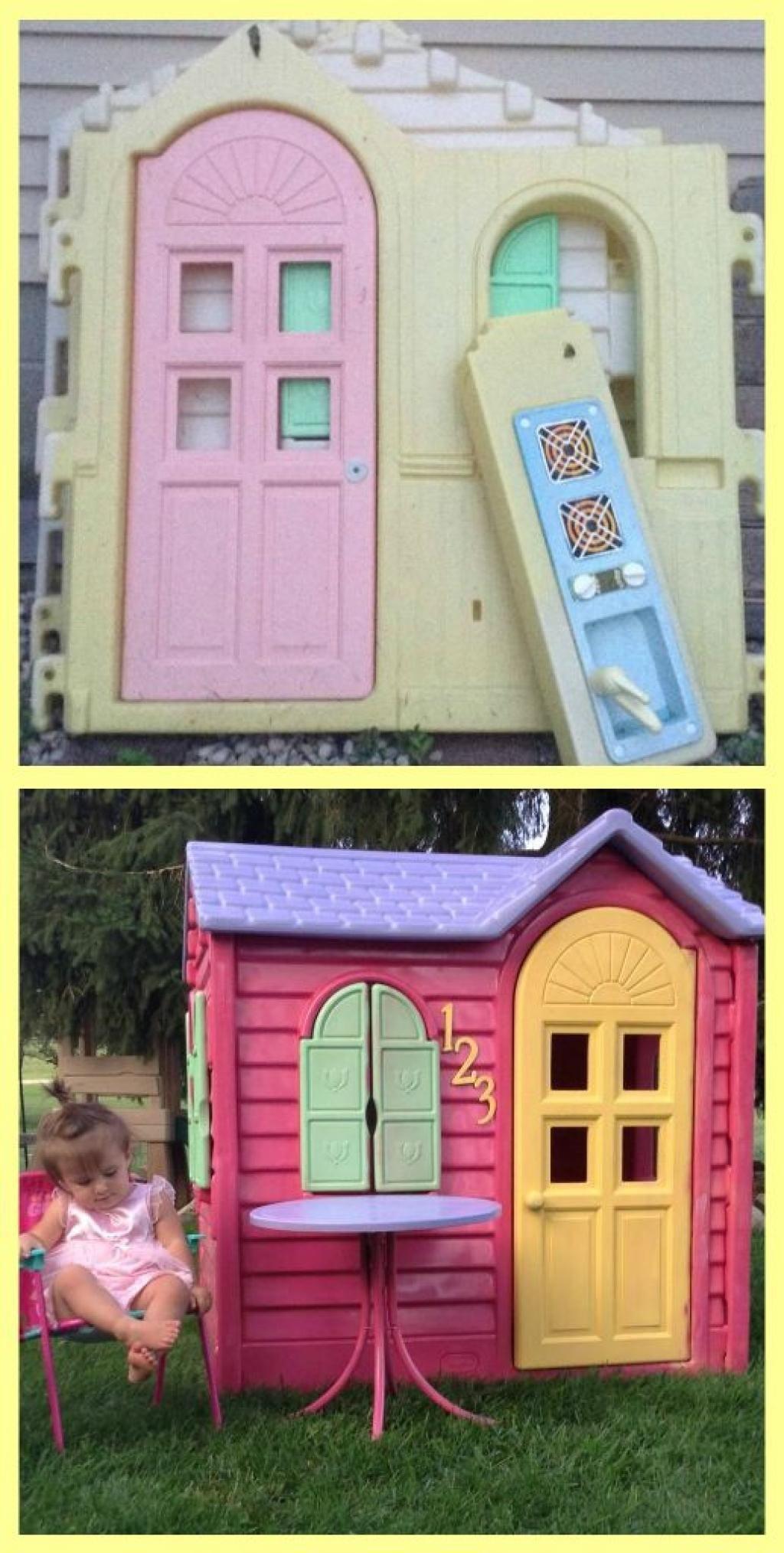 12 Petites Maisons Littles Tikes Repeintes, Pour Vous ... serapportantà Maison De Jardin En Plastique
