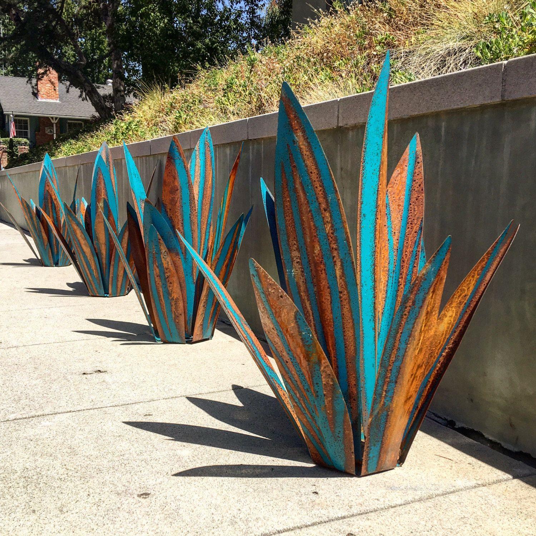 2 1/2 Foot Blue Tequila,rustic,sculpture,metal Art,garden ... encequiconcerne Sculpture Moderne Pour Jardin