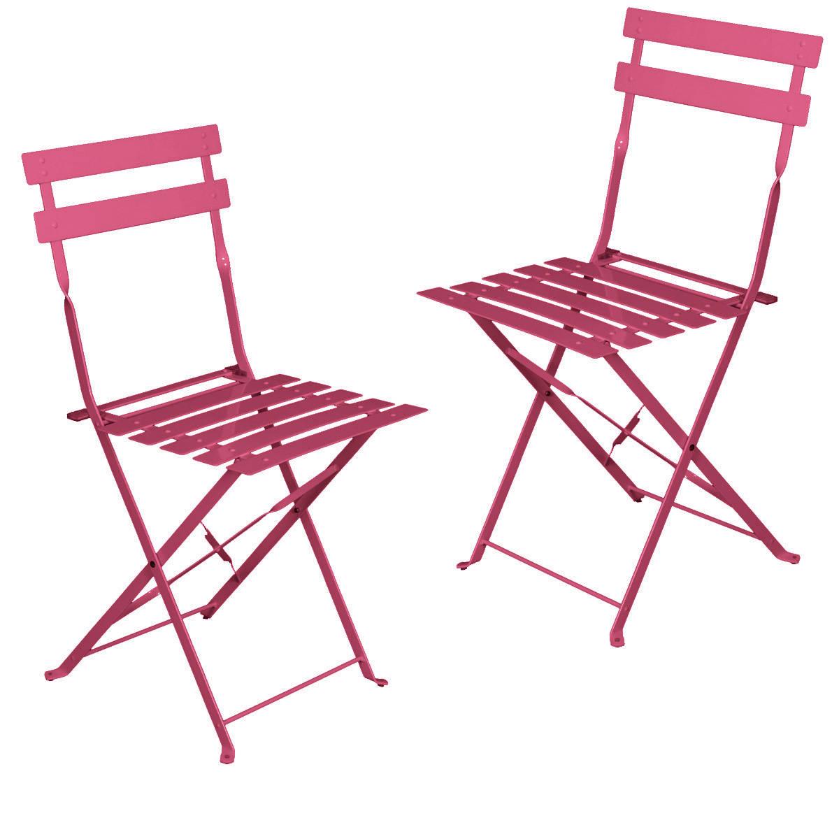 2 Chaises Pliantes Framboise , L 42 X P 46 X H 80 Cm - En Acier Tati.fr concernant Chaise De Jardin Pliante Pas Cher