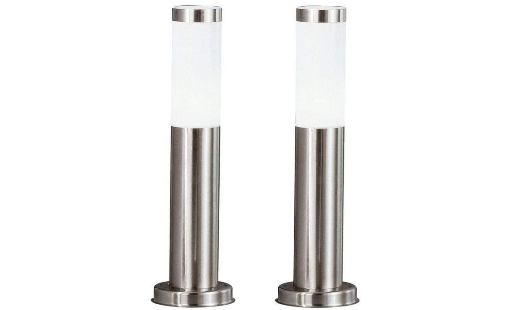 2 X Lampadaire Del Luminaire Sur Pied Espace Extérieur Jardin Terrasse  Acier Inoxydable Lampes Led tout Lampadaire De Jardin Pas Cher