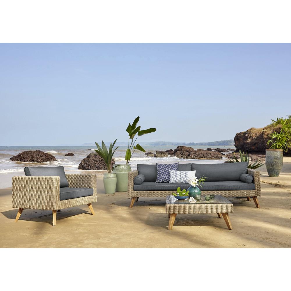 3/4 Seater Wicker And Canvas Garden Sofa In Charcoal Grey encequiconcerne Salon De Jardin Maison Du Monde