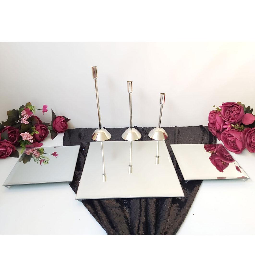 3 Lü Kare Aynalı Jardinyer Aynalı Ve 3 Adet İnce Mumluk Masa Üstü Söz Nişan  Seti avec Table Jardin Rose