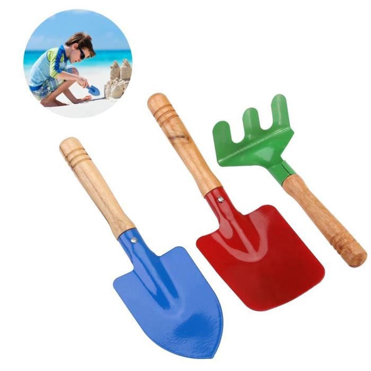 3 Pcs Outils De Jardin En Plein Air Set Râteau Pelle Enfants ... à Outil Jardin Enfant