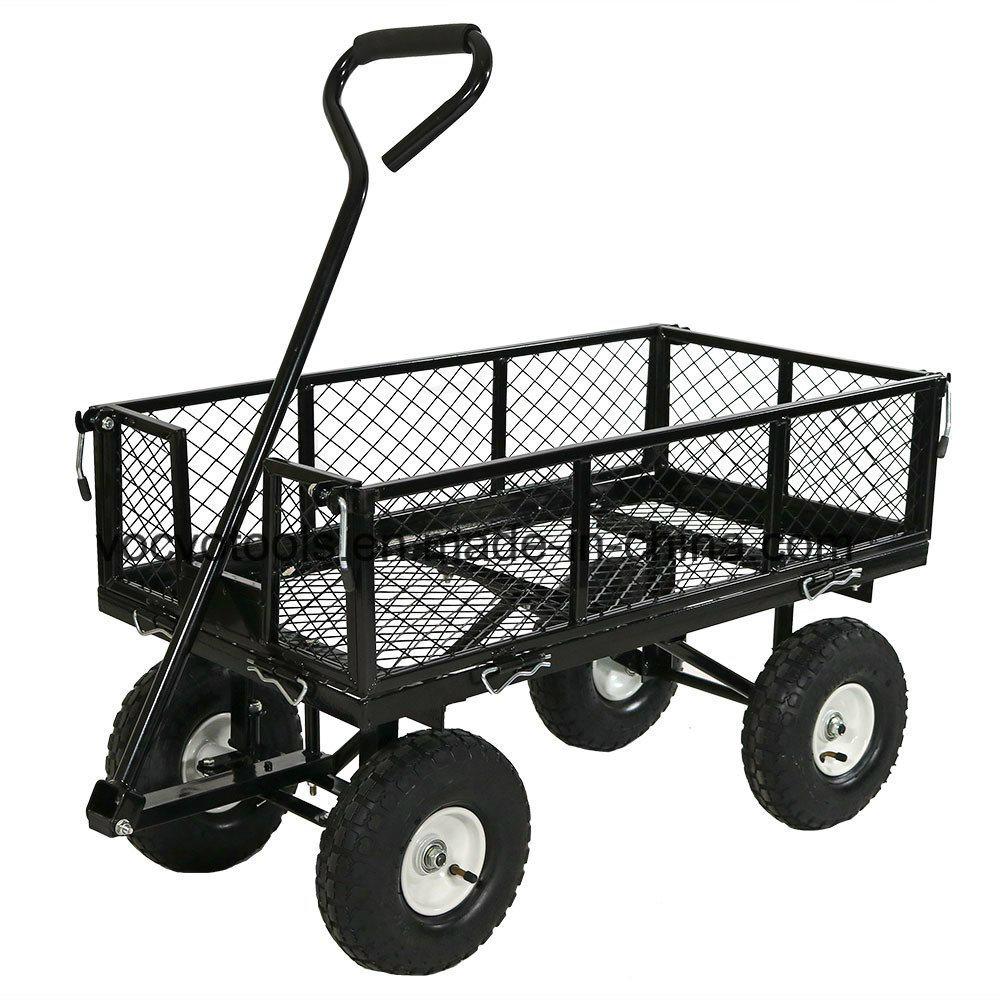 300Kgs 4 Roues Chariot De Jardin En Acier Robuste/jardin ... destiné Chariot De Jardin 4 Roues