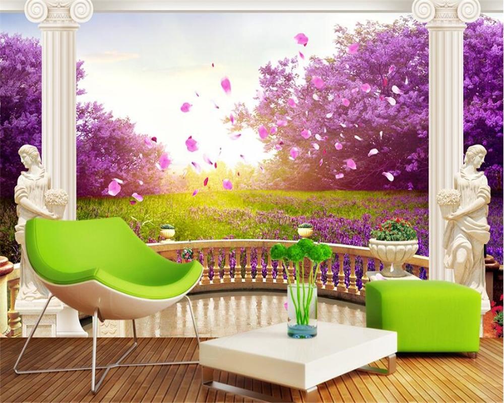 3D Zemin Boyama Duvar Kağıdı Parkı Dere Su 3D Kat Pvc ... intérieur Salon Jardin Alice Garden