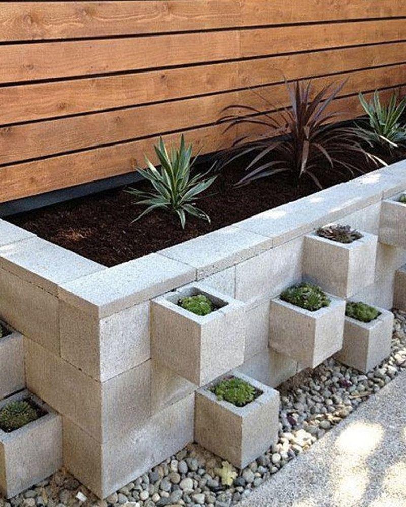 5 Jardinières Diy Avec Des Blocs En Béton | Jardinières Diy ... à Jardinieres Beton Pour Jardin