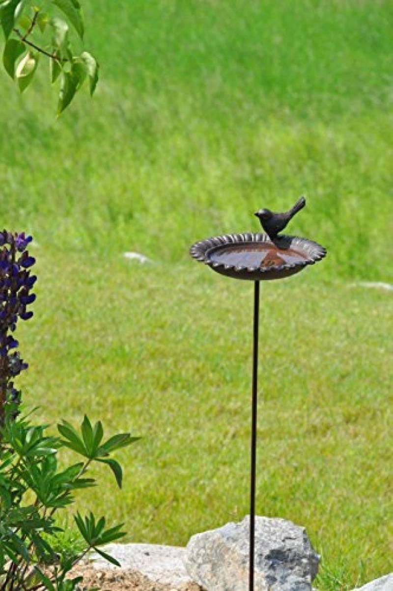 57027 Baignoire Pour Oiseaux En Fonte Avec Perche Marron ... dedans Baignoire Oiseaux Jardin