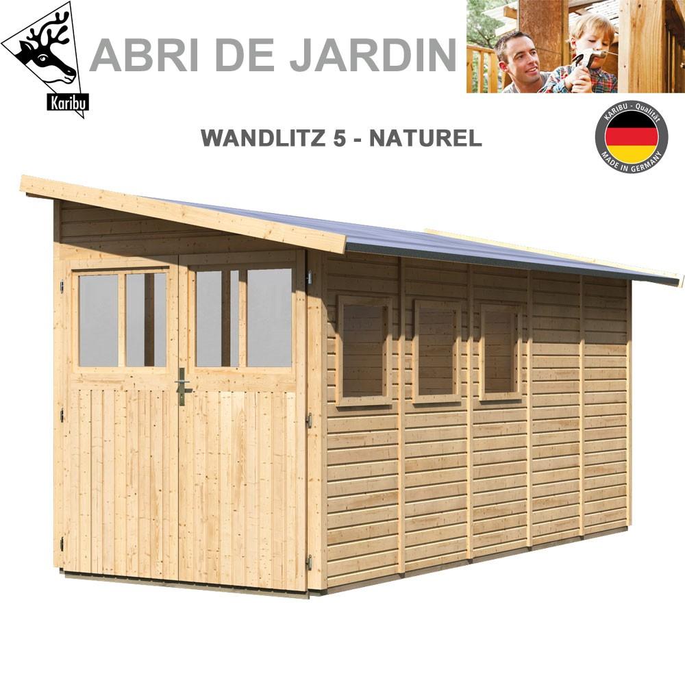Abri Adossable Bois Wandiltz 5 Naturel - 181X442 à Abris De Jardin Adossable