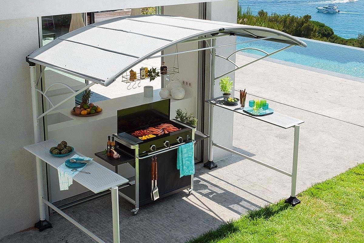 Abri Barbecue Neiba 2,96 X 1,5 M - Acier Traité Epoxy Gris ... destiné Pavillon De Jardin Suisse
