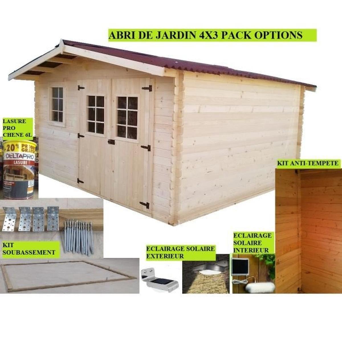 Abri De Jardin 4X3 + Pack Options - Achat / Vente Abri ... destiné Abri De Jardin Cdiscount