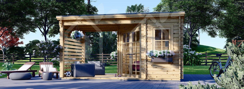 Abri De Jardin Aisne Plus (28 Mm), 3X3 M, 9 M² + 6.5 M² Pergola concernant Chalet De Jardin Fr