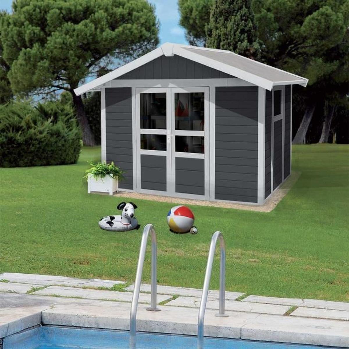 Abri De Jardin Basic Home 7,5 Gris Foncé - 7.5 M² + Kit D ... destiné Abris De Jardin En Kit