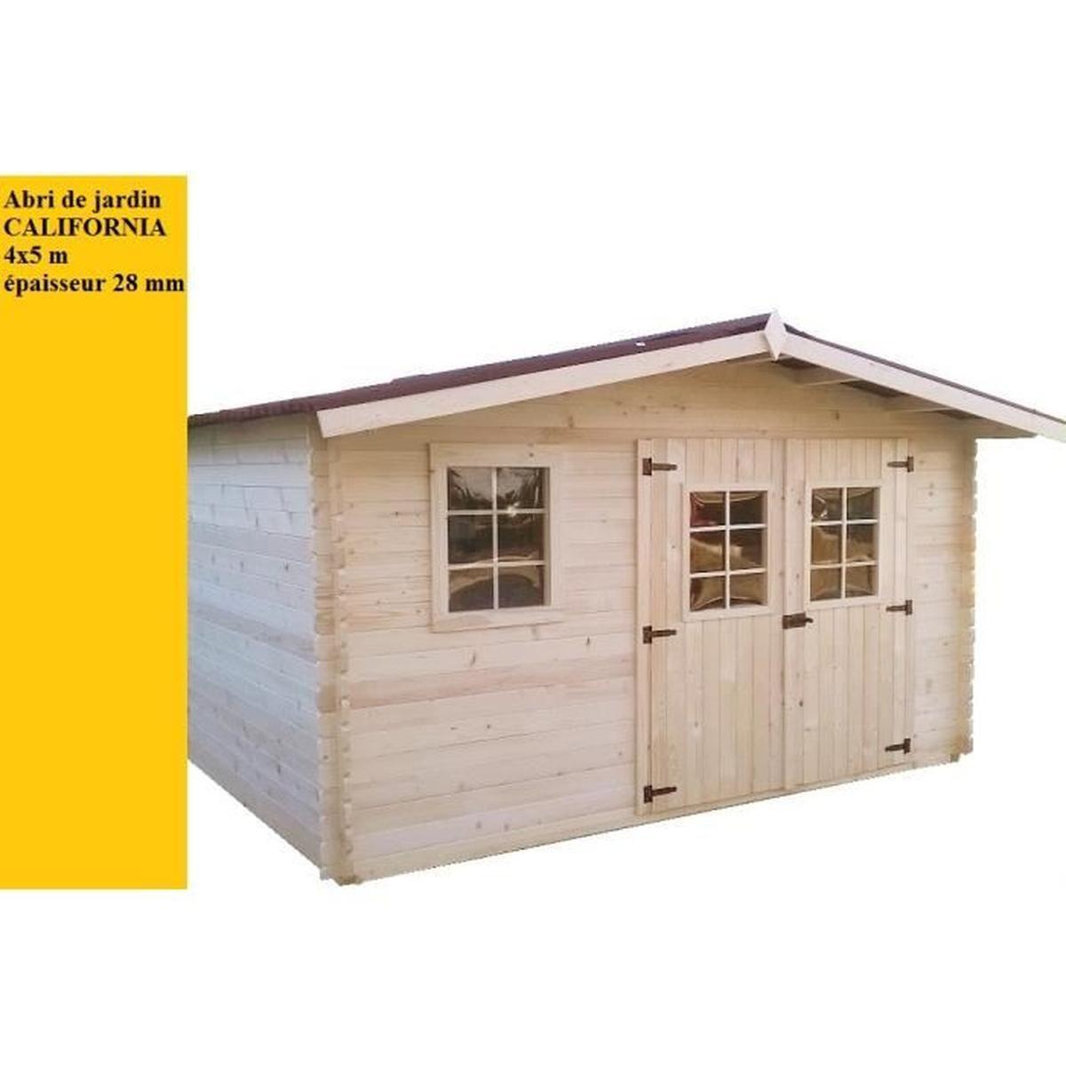 Abri De Jardin Bois 4X5M 20M2 California - Achat / Vente ... intérieur Abri De Jardin Prix Discount