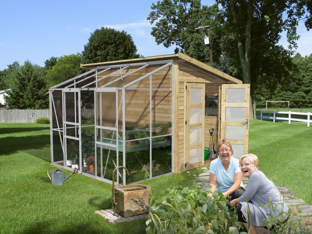 Abri De Jardin Bois Avec Serre Polycarbonate 8.30 M2 (19 Mm ... encequiconcerne Abri De Jardin Avec Serre