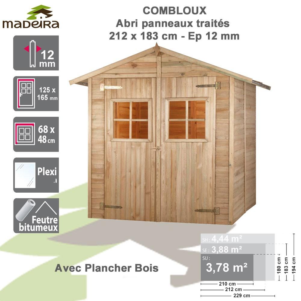 Abri De Jardin Bois Combloux 12 Mm - Brut Avec Plancher - 3.78 M² concernant Abris De Jardin Avec Plancher