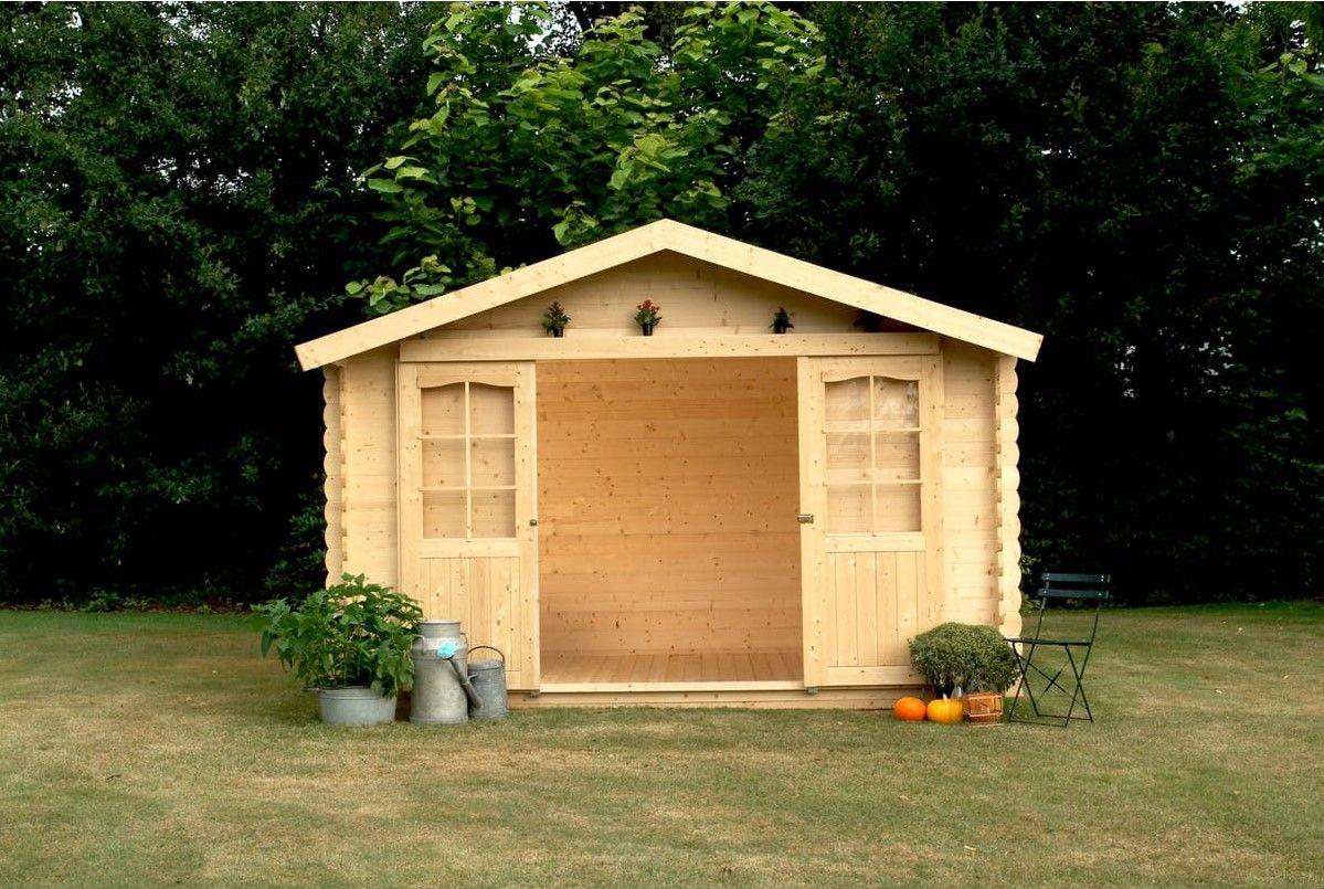 Abri De Jardin Bois Ness 11.88M² Portes Coulissantes Pas ... avec Abri De Jardin Auchan
