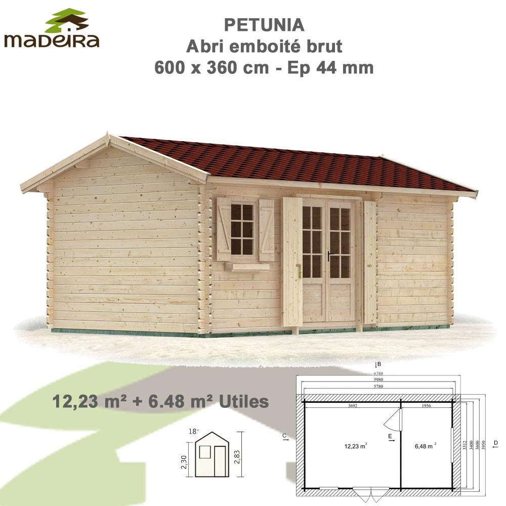 Abri De Jardin Bois Petunia 44 Mm - Brut Avec Plancher - 18.71 M² pour Abri De Jardin Avec Plancher