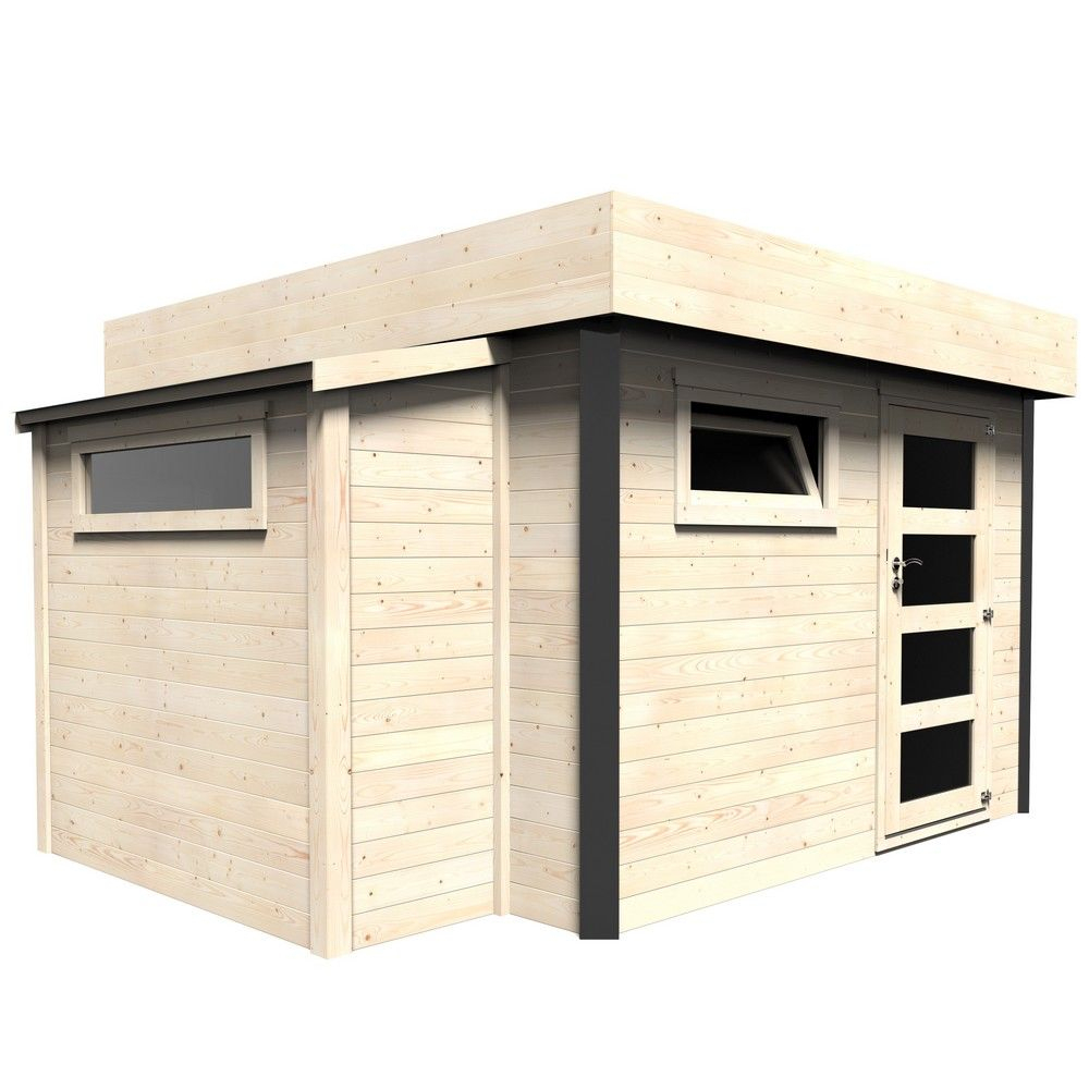 Abri De Jardin Bois Toit Plat Atelier 12,46 M² Ep. 28 Mm à Abri De Jardin En Composite
