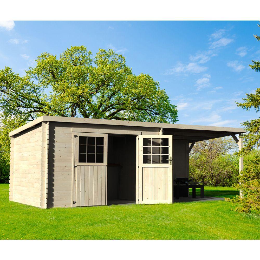 Abri De Jardin Bois Toit Plat + Auvent Eden 18,31 M² Ep. 28 Mm concernant Mr Bricolage Abri De Jardin