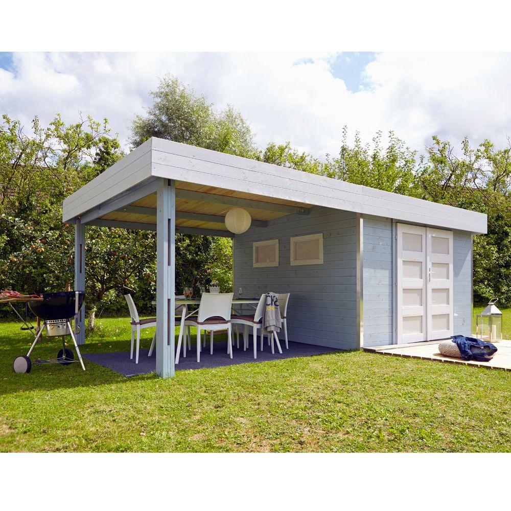 Abri De Jardin Bois Toit Plat + Auvent Lounj 20.37 M² Ep. 28 Mm pour Abri De Jardin Avec Pergola