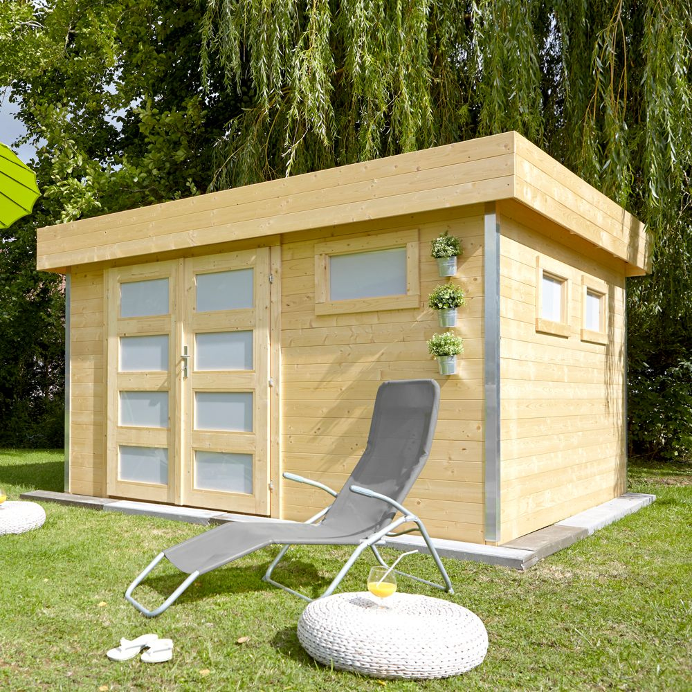 Abri De Jardin Bois Toit Plat Comfy 12,8 M² Ep. 28 Mm concernant Abri De Jardin Toit Plat Pas Cher