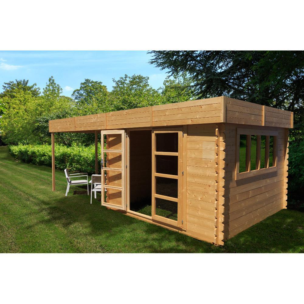 Abri De Jardin Bois Toit Plat Conception - Idees Conception ... tout Abri De Jardin Avec Pergola