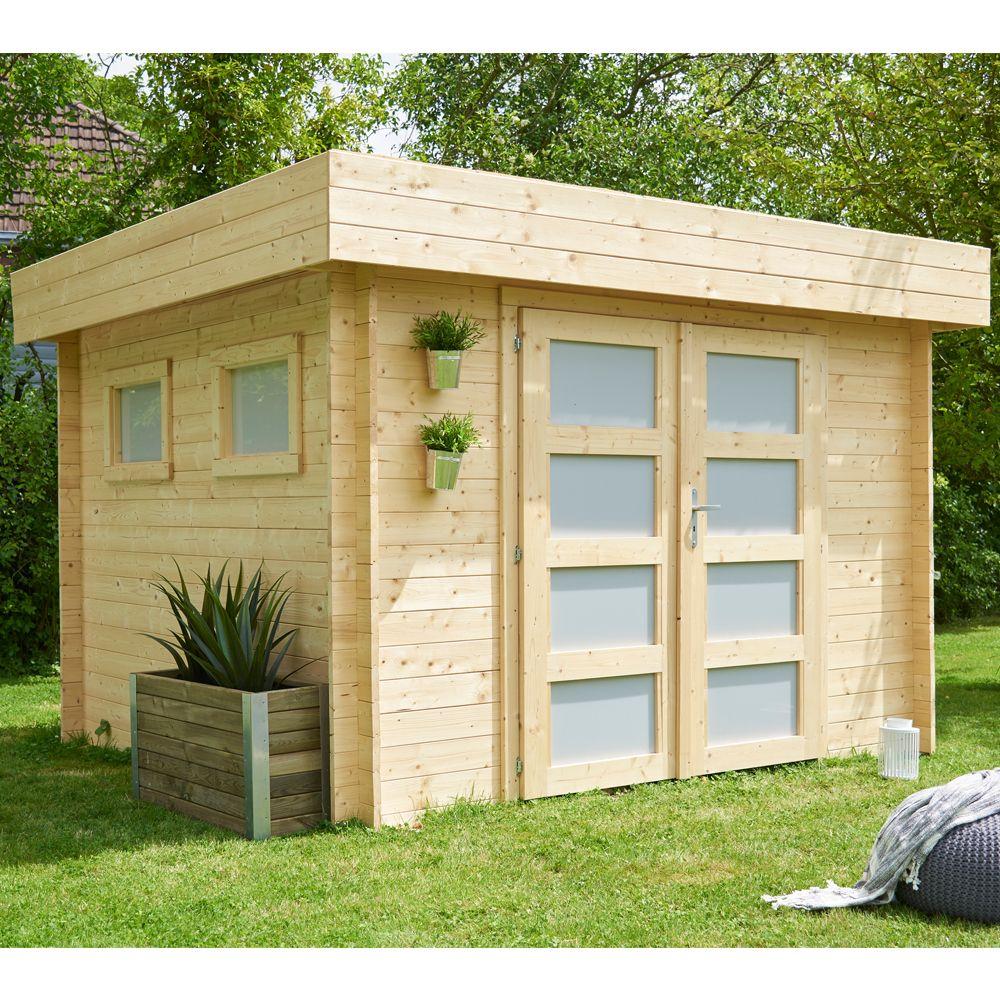 Abri De Jardin Bois Toit Plat Kivik 9.53 M² Ep. 28 Mm intérieur Abri De Jardin En Longueur
