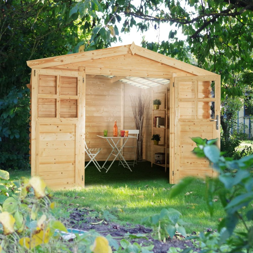 Abri De Jardin Bois Toit Polycarbonate 12,52 M² Ep. 28 Mm Soleil concernant Protection Toit Abri De Jardin