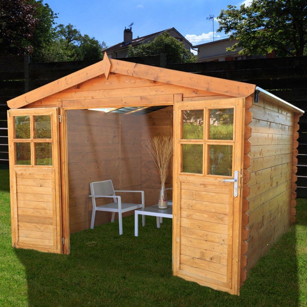Abri De Jardin Bois Toit Polycarbonate 9,42 M² Ep. 28 Mm Soleil destiné Abri De Jardin En Polycarbonate