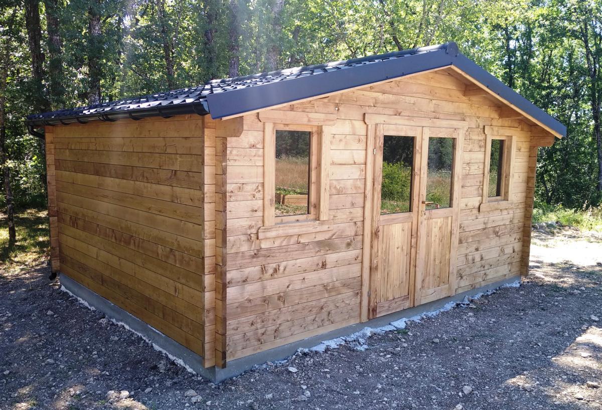 Abri De Jardin Bois Traite - Eco 19.80 M² -Épaisseur 28 Mm intérieur Gouttière Pour Abri De Jardin