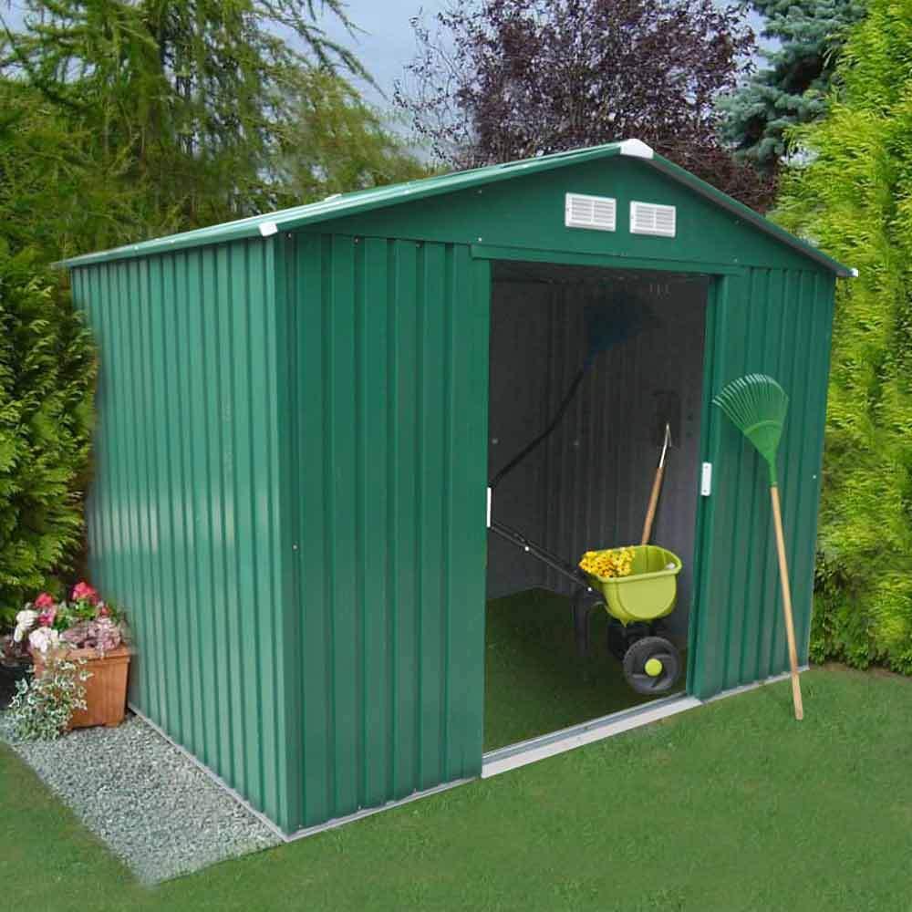 Abri De Jardin Box Metal Vert Rangement Outils Cabane Metal Galvanisé  257X184 Cm Large concernant Abri De Jardin En Longueur