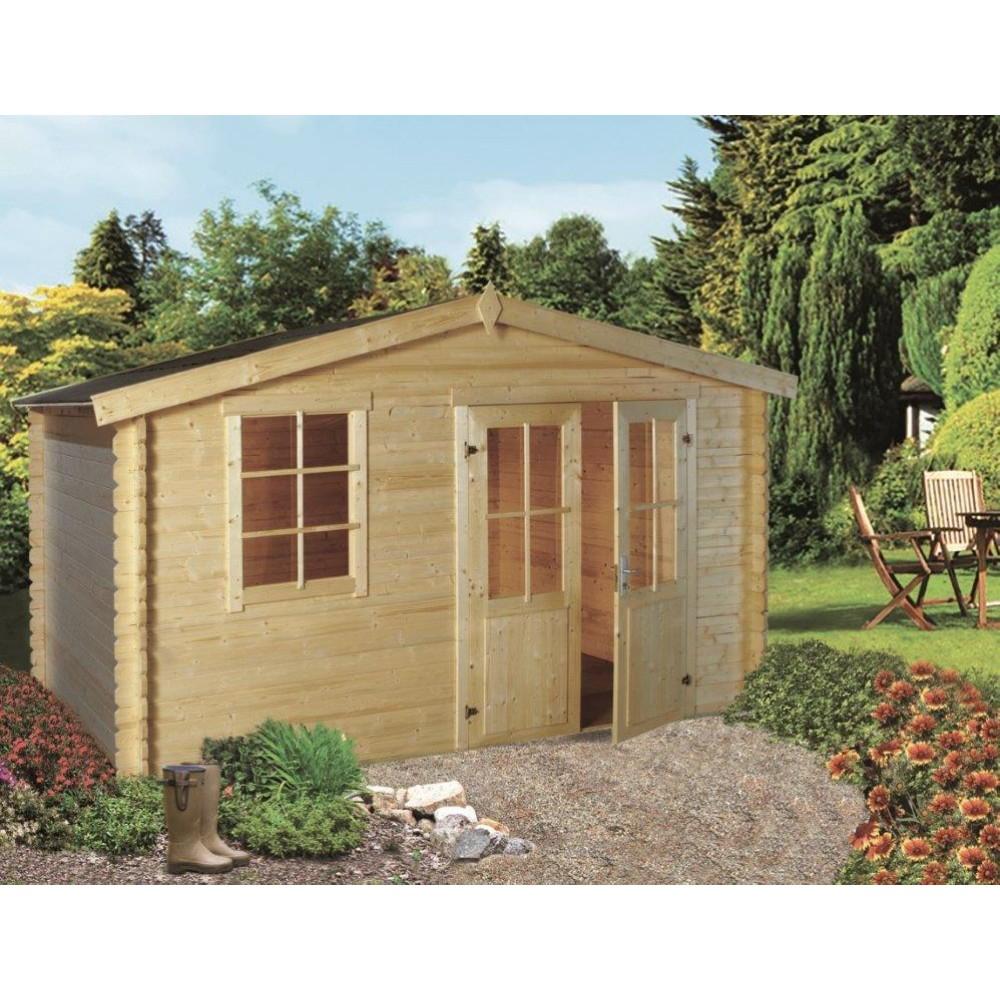 Abri De Jardin Cheverny 421X315X234Cm Ep.2,8Cm Épicéa Olg France avec Abri De Jardin En Beton Cellulaire