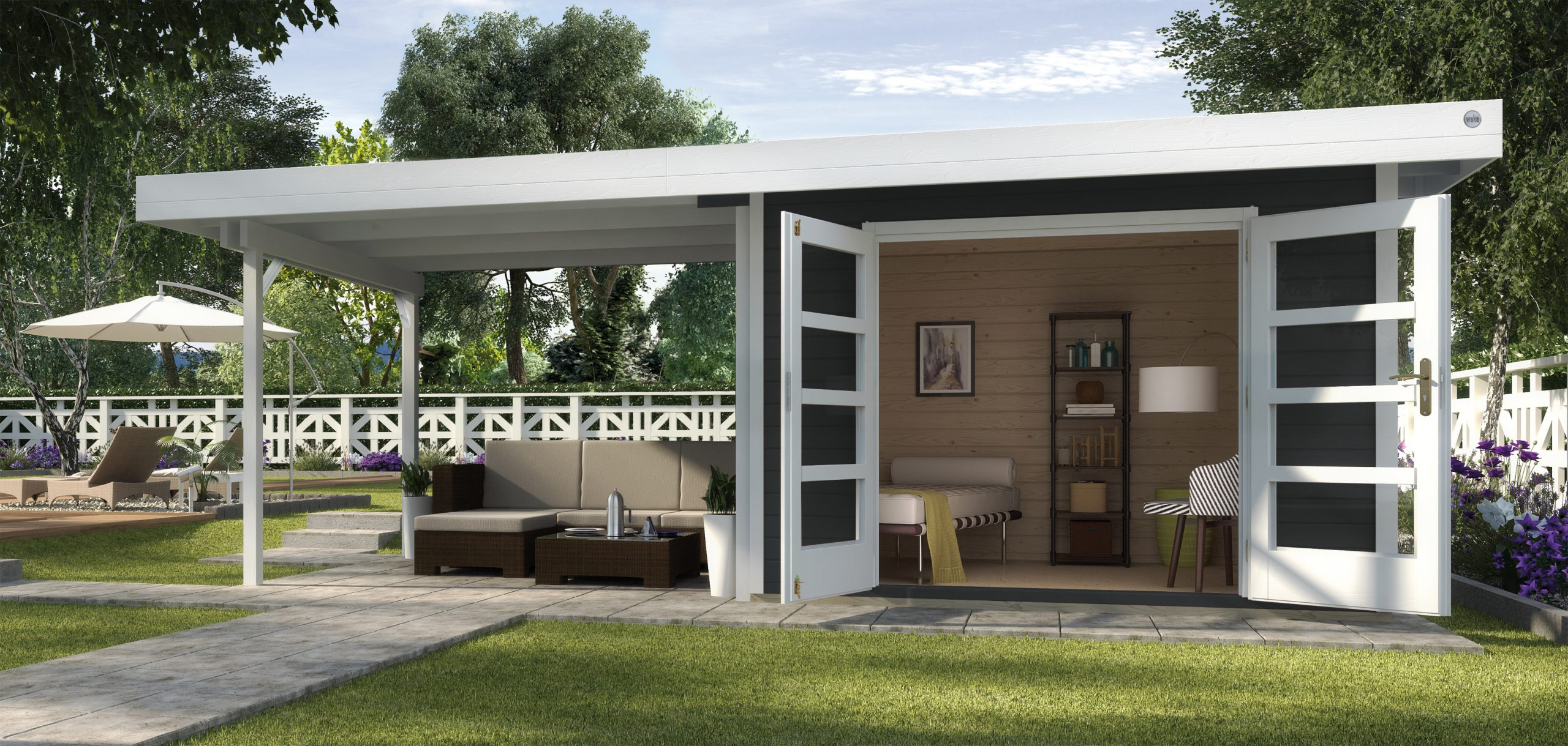 Abri De Jardin Design Toit Plat Avec Auvent - Abri Bois De 10 À 15 M² Nea  Concept destiné Abri De Jardin Avec Auvent