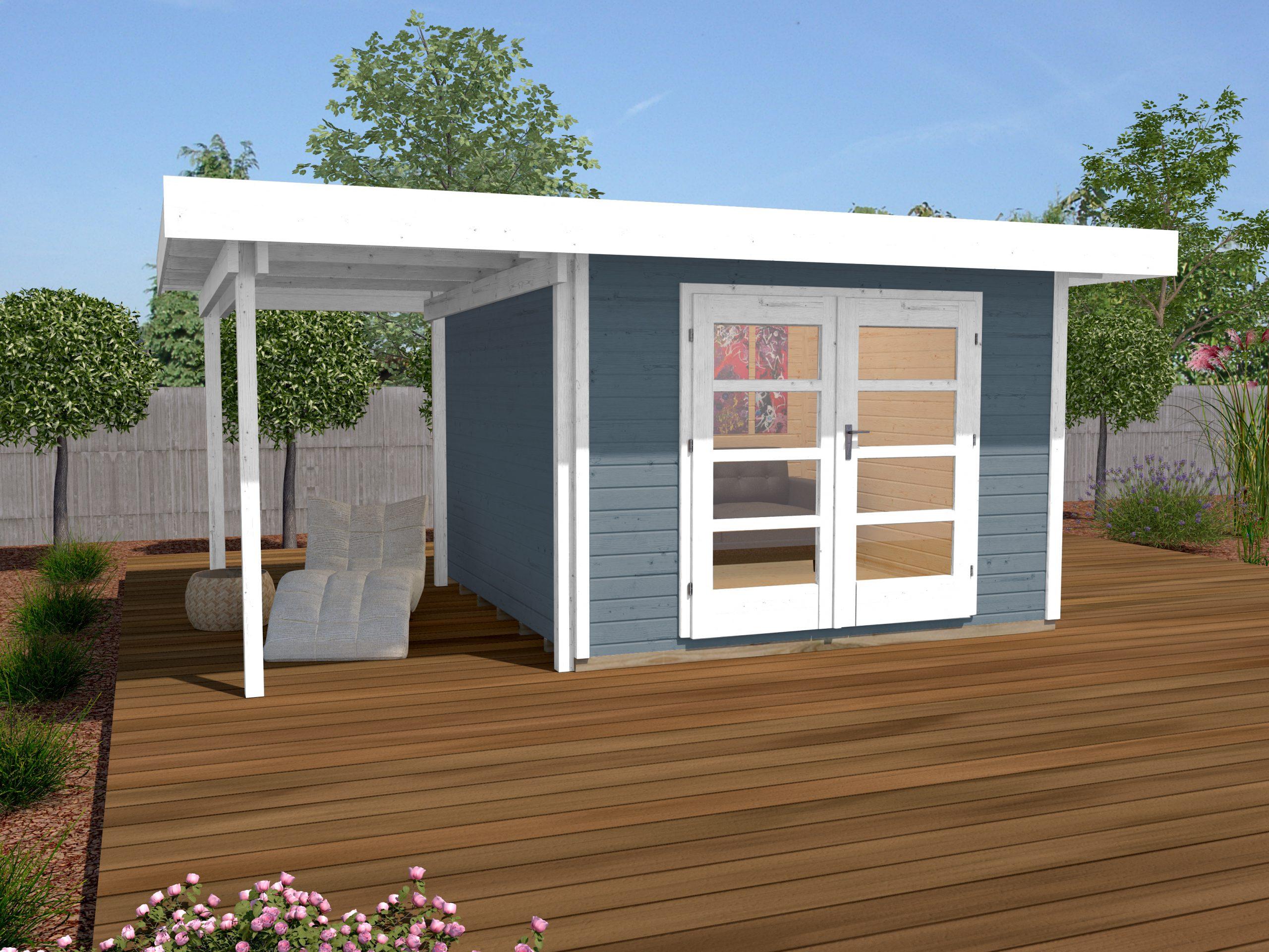 Abri De Jardin Design Toit Plat Avec Auvent Coté - Abri Bois De 10 À 15 M²  Nea Concept pour Abri De Jardin Pvc Toit Plat
