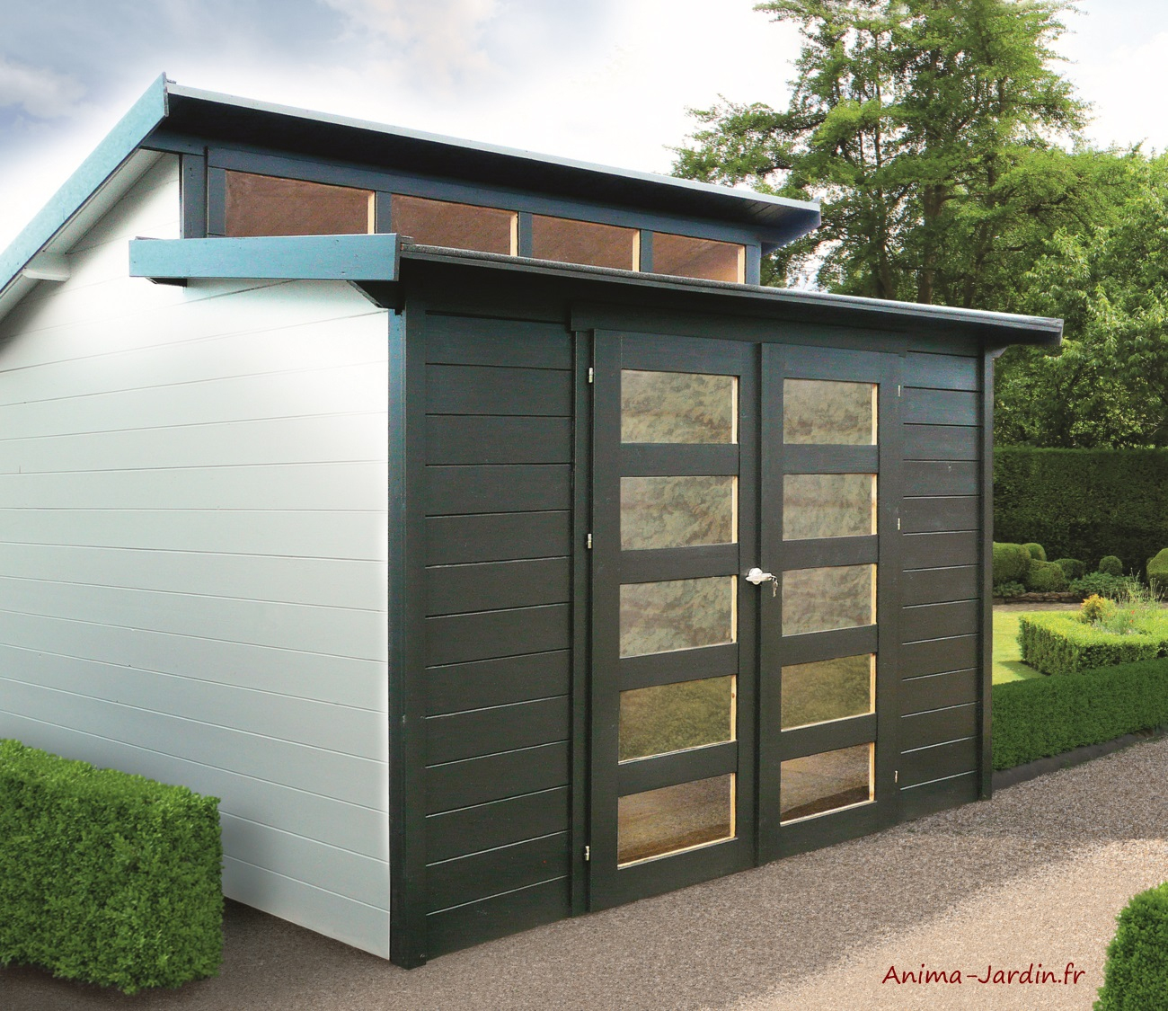 Abri De Jardin En Bois 28Mm, Milano, 9M², 2 Portes, Solid ... pour Abri De Jardin Metal Pas Cher