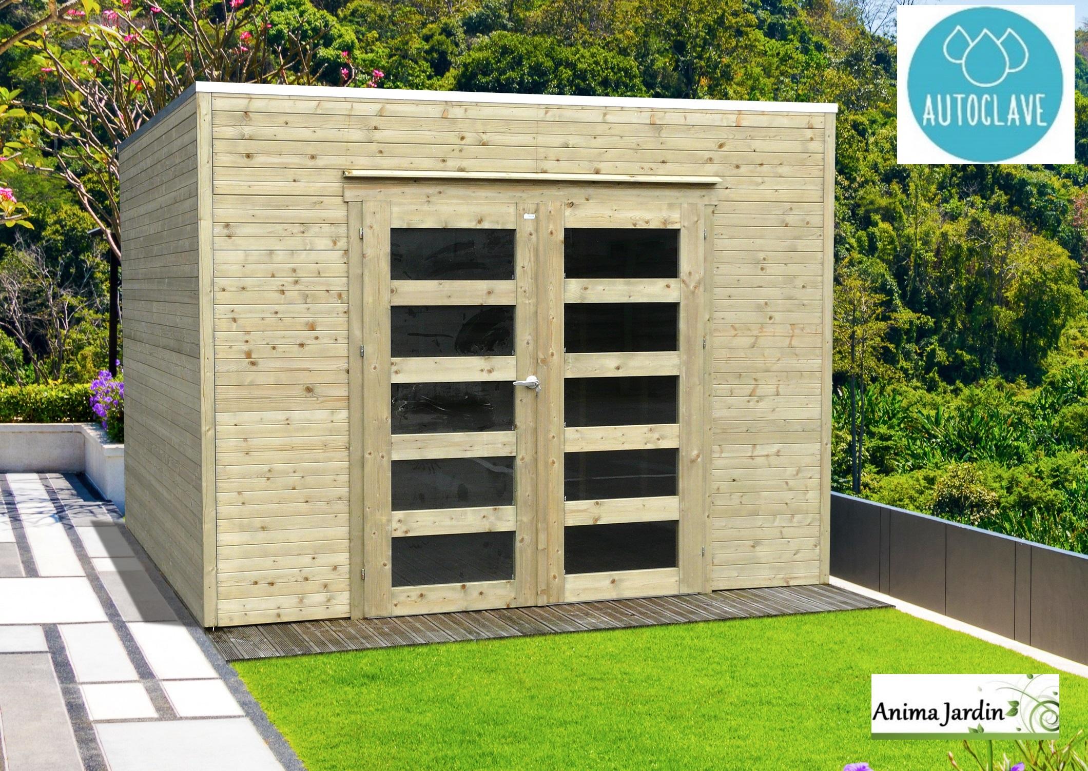 Abri De Jardin En Bois Autoclave 19Mm, Bari, 8M², Toit Plat ... dedans Abri De Jardin Toit Plat Pas Cher