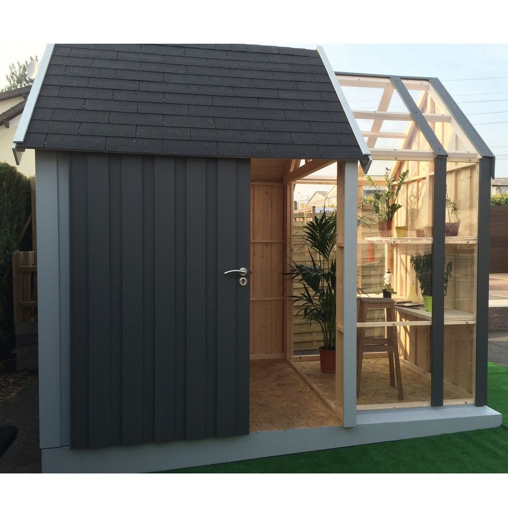 Abri De Jardin En Bois Avec Serre Vertigo 7,39 M² Ep. 28 Mm ... pour Cabane De Jardin En Beton