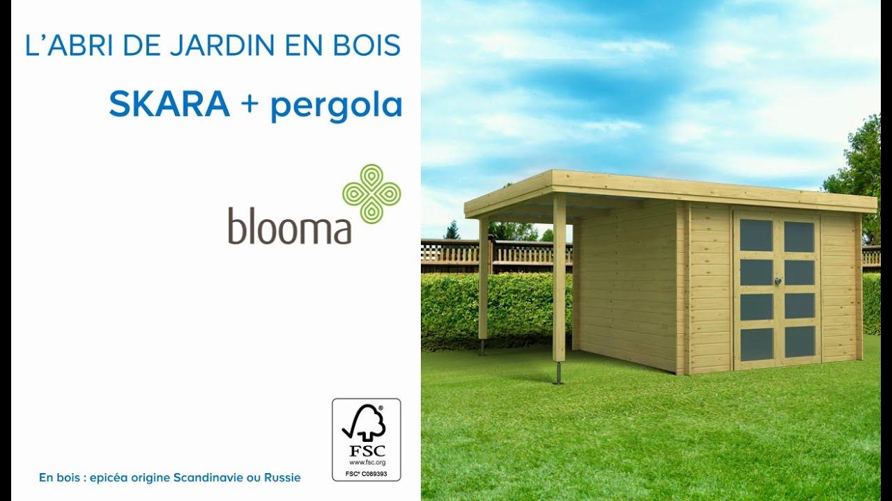 Abri De Jardin En Bois + Pergola Skara Blooma (675978) Castorama destiné Chalet De Jardin En Bois Castorama