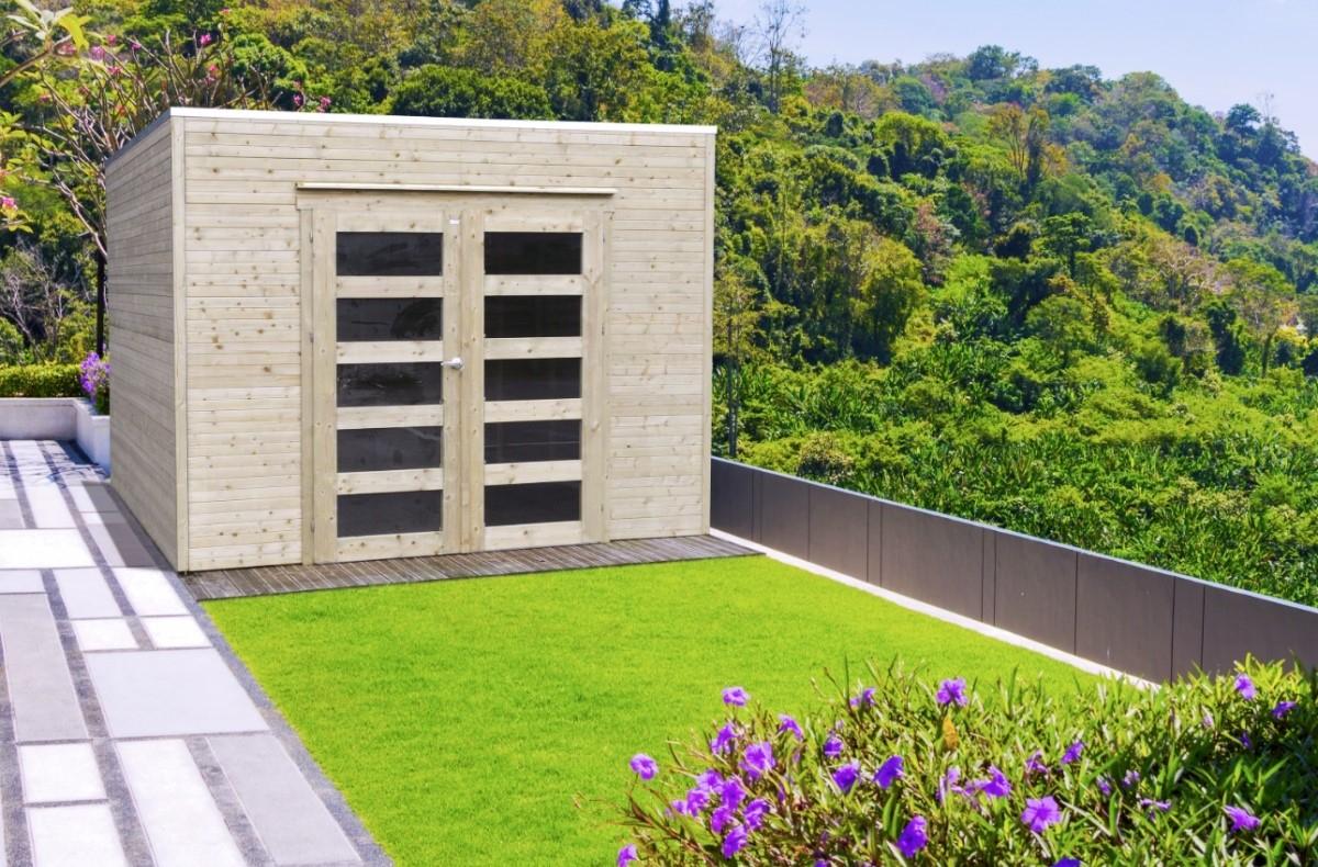 Abri De Jardin En Bois Traité Bari 19 Mm – 8,69 M² Avec Toit Plat encequiconcerne Abri De Jardin Bois Traité