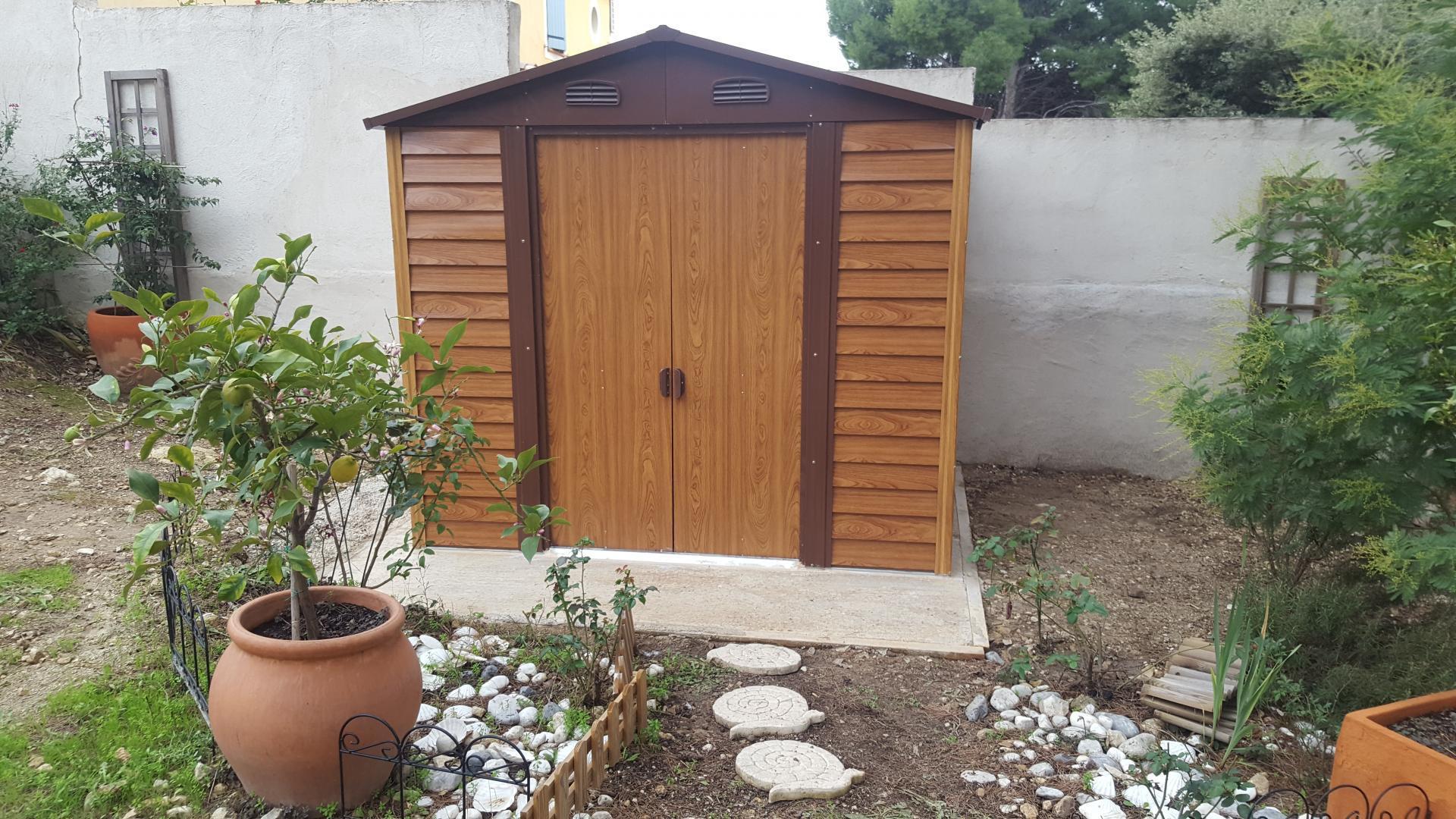 Abri De Jardin En Métal Aspect Bois 4,6M² + Kit D'ancrage ... intérieur Fixation Abri De Jardin