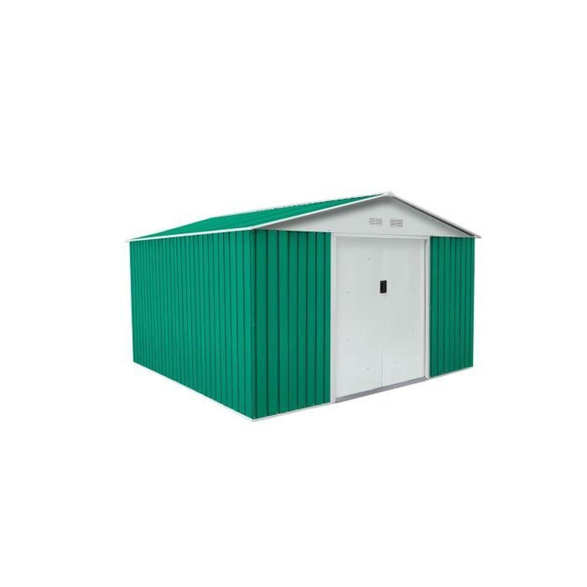 Abri De Jardin En Métal Bedford Vert/blanc 11,59 M² ... avec Abri De Jardin Magasin Vert