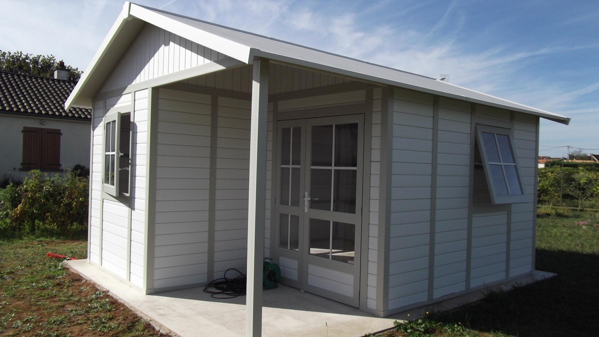 Abri De Jardin En Pvc 19,87M² Deco 20B Blanc Et Gris Vert ... destiné Abris De Jardin En Pvc