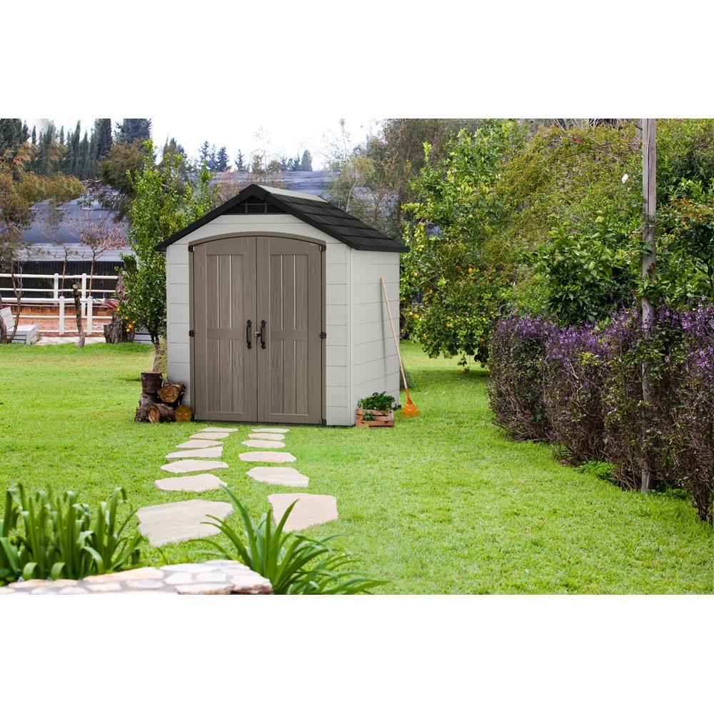 Abri De Jardin En Résine Aspect Bois Gris Clair Montfort 3,94 M² serapportantà Abris De Jardin En Résine
