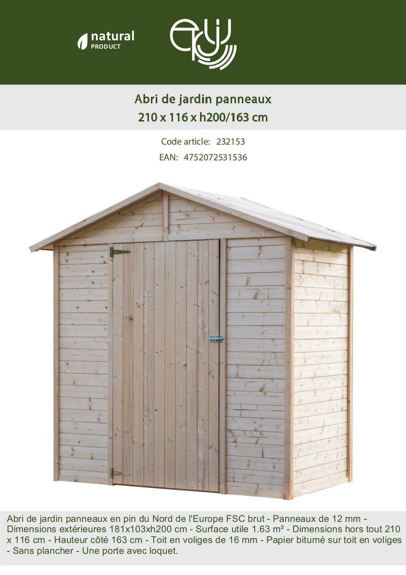 Abri De Jardin En Sapin Fsc -2.43M²- 181X103Xh200 Cm | Abri ... intérieur Abri De Jardin C Discount