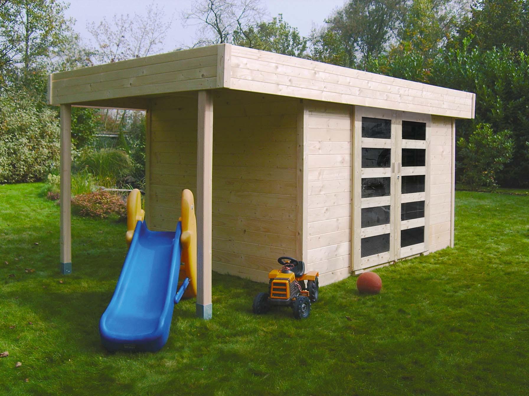 Abri De Jardin Larvik 28 Mm 3,30 + 1,20 X 2,42 M Solid - Mr.bricolage intérieur Abri De Jardin Mr Bricolage