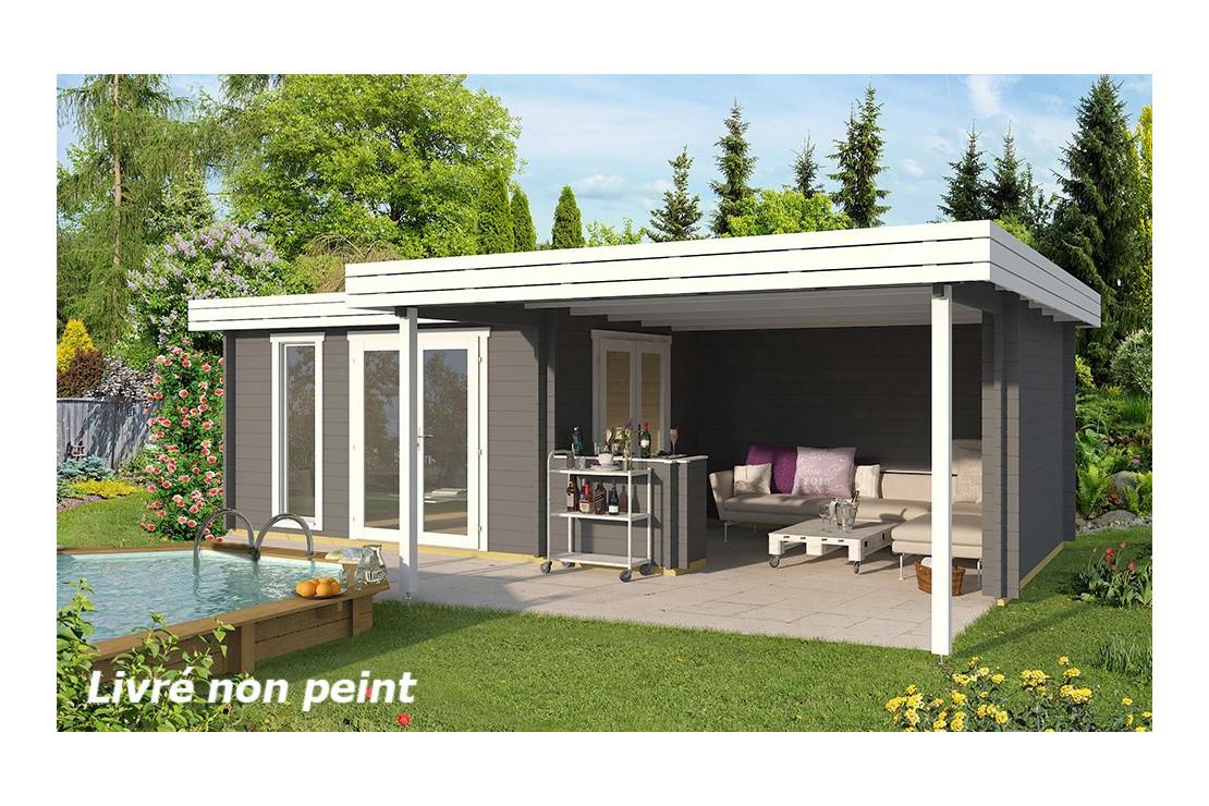 Abri De Jardin Luxembourg 44 Mm - 11,6M² + 18,2M² tout Abri De Jardin Pvc Toit Plat