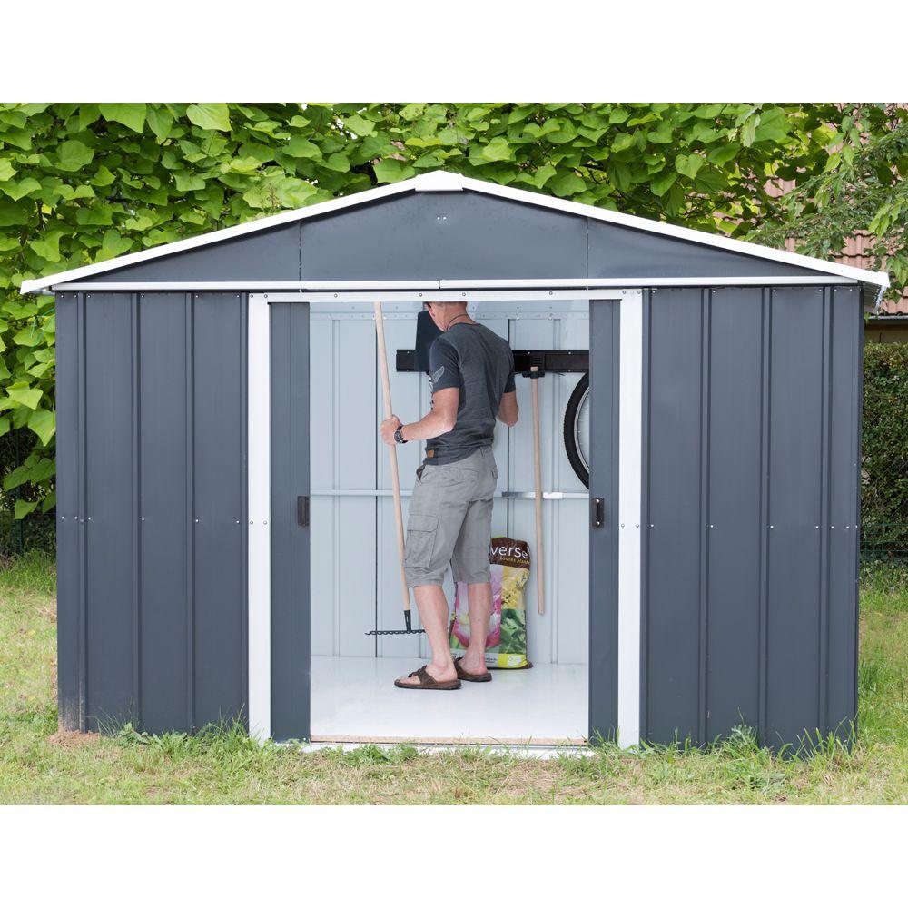 Abri De Jardin Métal 12 M² Ep. 0,30 Mm Yardmaster intérieur Cabane De Jardin Metal Pas Cher