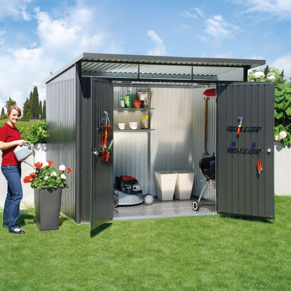 Abri De Jardin Métal Double Porte 5,72 M² Ep. 0,53 Mm Avantgarde Biohort  Gris Foncé tout Abri De Jardin Gris Anthracite